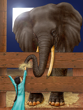 Girl & Elephant - Click to Return to Gallery